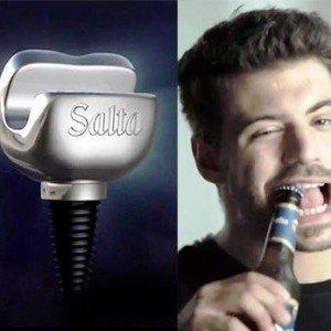 Impianto dentale per aprire i tappi delle bottiglie con i denti.